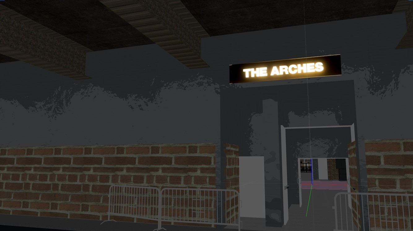 """The entrance to Glasgow club """"The Arches"""" in a virtual render"""