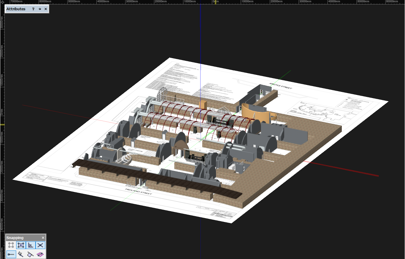 A side view of the virtual club model in Vectorworks, showing the club model on top of the floor plan.
