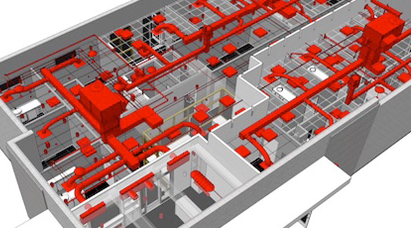 Visualized engineering systems in a 3D architectural model.