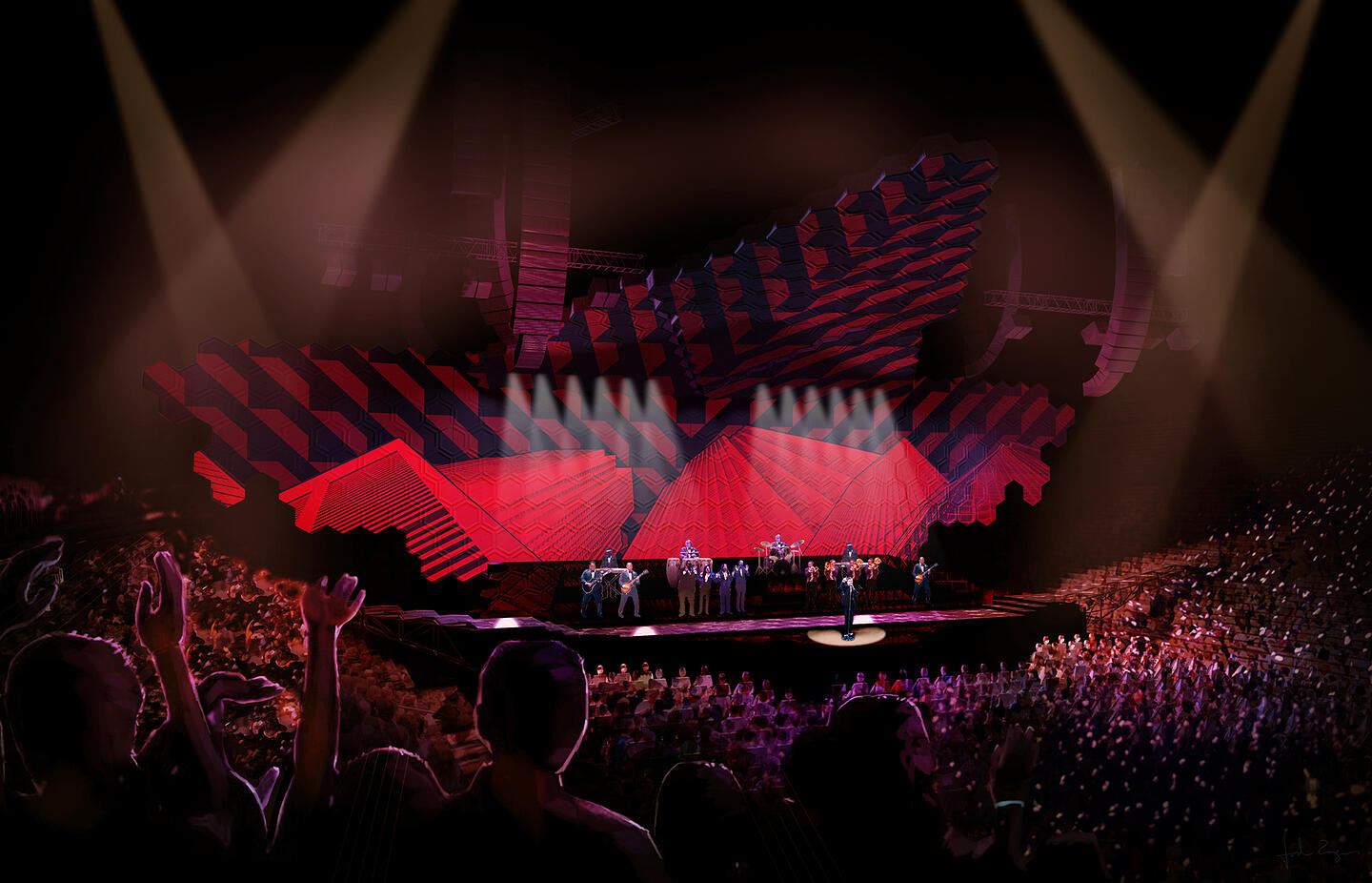 2020 - Stage Concept - Color Render with projections Gloss Black Floor