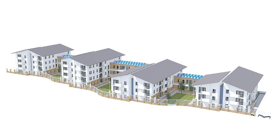 the-whitestown-way-development-shown-from-the-south-it-offers-81-dwellings-in-small-clusters-organised-along-an-east-to-west-street