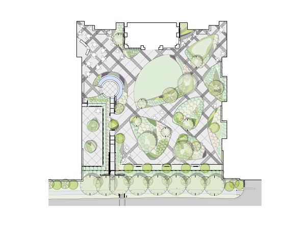 conceptual landscape architecture site design made with BIM software