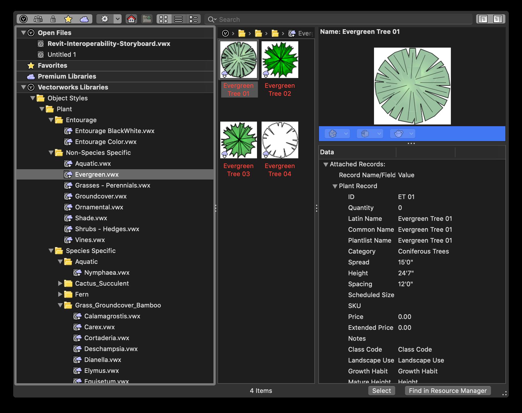 Vectorworks menu showing plant symbols for a landscape architecture project