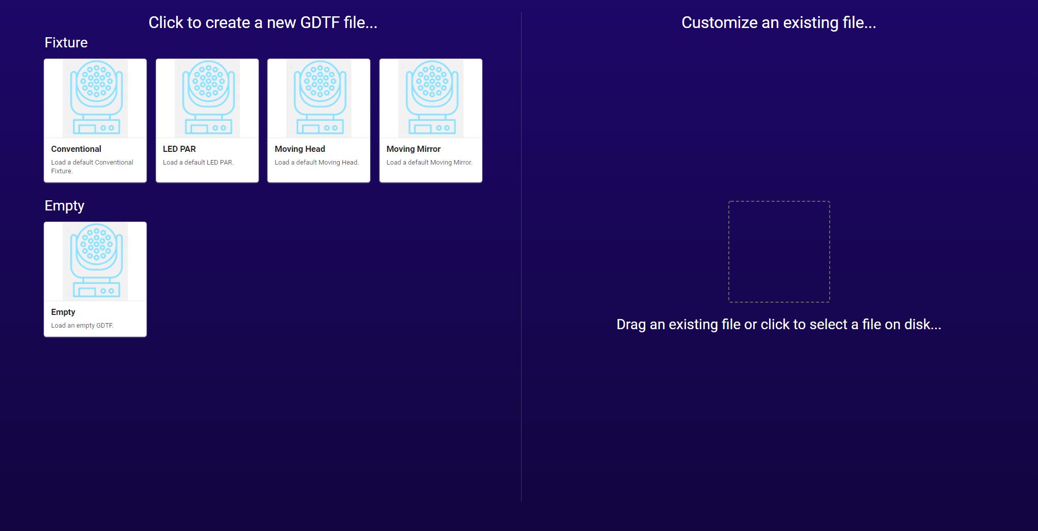 GDTF_Fixture Builder Start page