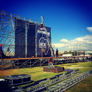 Constructing the Jack Daniels BOOMTOWN stage. Image courtesy of Ryan Dunbar.
