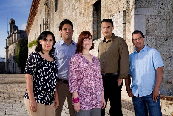 CAEDRO Team, from left to right: Penelope González, Sales DR. Ricardo Valdez, Lesser Antilles Sales Manager. Irina Angulo, Global Manager. Rubén Hernández, CEO & Alexander Osoria, Sales DR.