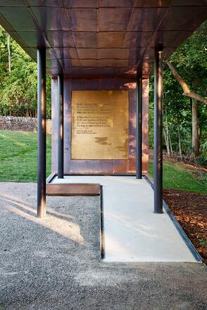 A view of the Poem Wall at the Dublin Grounds of Remembrance