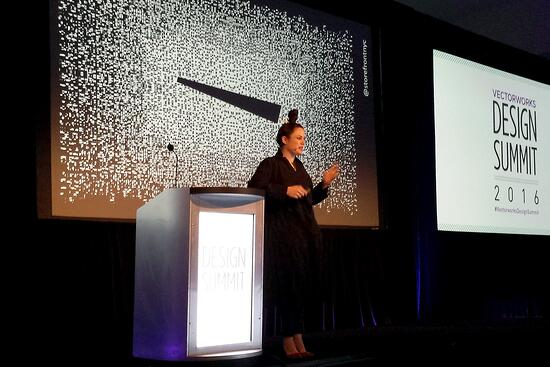 Eva Franch giving the keynote address at the Vectorworks Design Summit (Photo: John Hill/World-Architects)