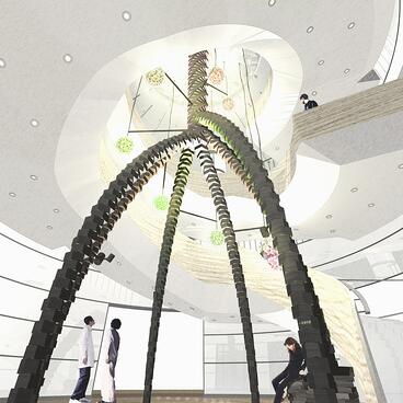 """Hamasaki designed artwork that resembles the root of a tree to create """"an uplifting feeling"""" for a client."""