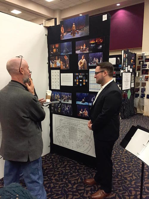 """Bradley Taylor, a student at Oklahoma City University, presents his lighting design for """"The Crucible"""" to judges."""