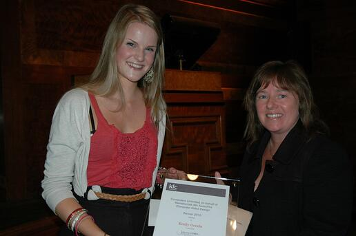 Emily Gooda (left), receiving the award for Computer Aided Design from Jacqui Smith, Group Marketing Manager Design, Computers Unlimited.