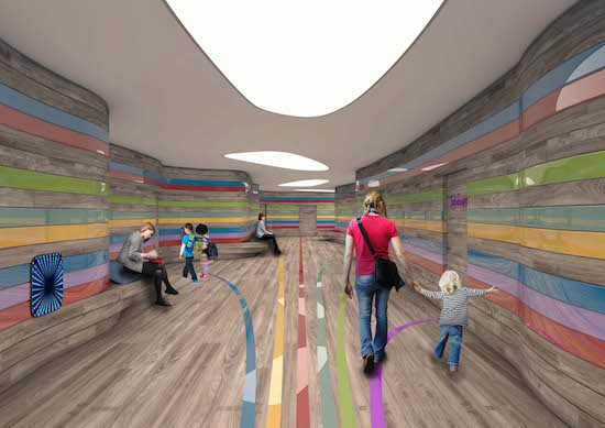 Leonida's rendering of the main hallway in his Occupational Therapy Center project.