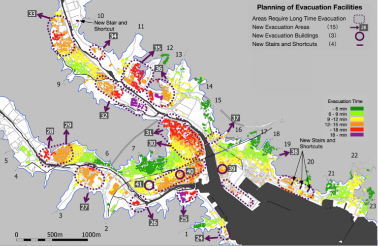 A SimTread software simulation of a city's evacuation time.