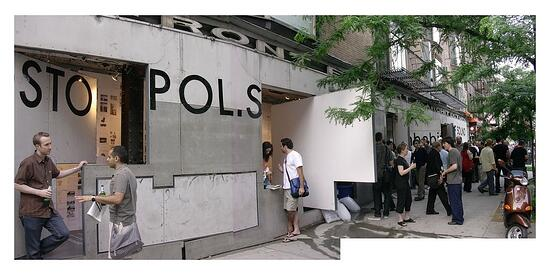 Postopolis after party spilling onto the sidewalk in front of the Storefront for Art and Architecture, June 2007 (Photo: John Hill/World-Architects)