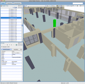 An example of the Vectorworks GSA model as viewed in Solibri Model Checker v5.1