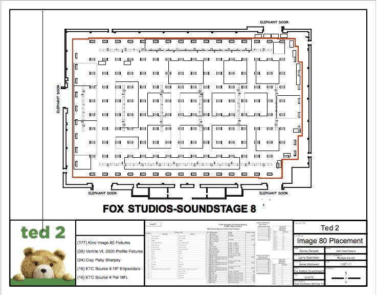 Jim Woodward's lighting plot design for Ted 2.