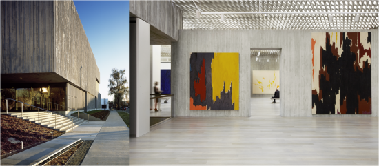 Exterior and interior shot of the Clyfford Still Museum. Image courtesy of Allied Works Architecture. Photo by Jeremy Bittermann.