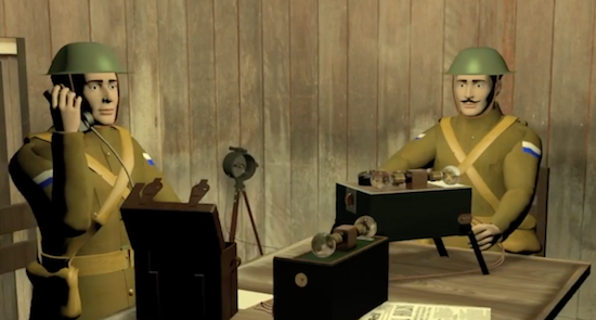 Two animated soldiers using field telephone and Morse code.