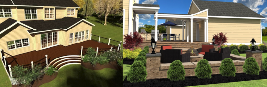 Renderings of designs created with the DeckWorks plug-in, utilized in the Maple Lawn community.