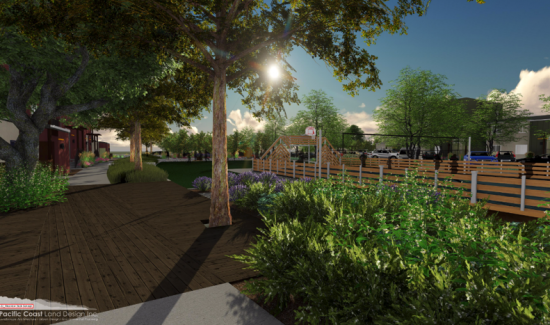 Rendering of the deck buit around the fig tree. Image courtest of Pacific Coast Land Design, Inc.