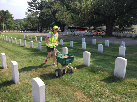 A landscape volunteer in action at Renewal & Remembrance.