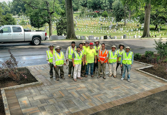 Installed hardscape with installation team, championed by Joe Markell of Sunrise Landscape and Design