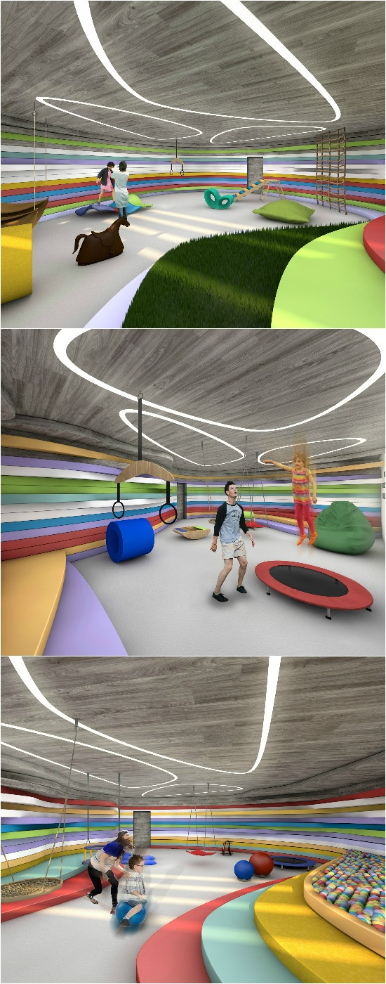 Various renderings for the center's Sensory Integration Rooms.