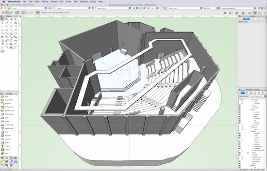 Theatre model prior to export to Odeon