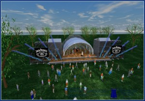 Dunbar's rendering of the BOOMTOWN stage, daytime birds-eye view.