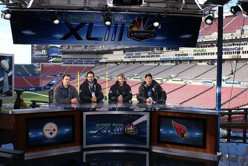 The Innovative Show Design team at the Super Bowl XLIII commentary desk.