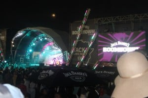 Jack Daniels BOOMTOWN stage, day of event, night view.