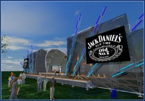 Dunbar's rendering of the BOOMTOWN stage, daytime side view. Image courtesy of Ryan Dunbar.