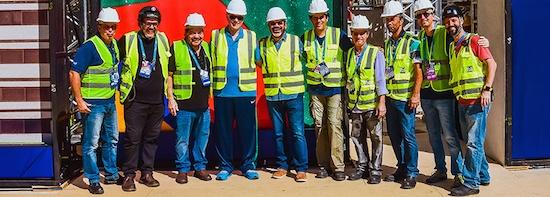 From left to right: Leonardo Caetano (Cerimonies Director Rio 2016 Committee), Lee de Castro (Engineer P&G), Fernando Sousa (P&G General Director), Carlos Arthur Nuzman (Rio 2016 committee and COB President), Abel Gomes (P&G Founder and President | CC 2016 - Partner, President and Artistic General Director), Omar Muro (P&G Architect and scenographer), Marcelo Braga (P&G - Assembly Coordinator), Reginaldo Nascimento - (P&G - Assembly Coordinator), Flávio Machado (SRCOM - Associate and Vice-president | CC2016 - Executive Producer of Paralympic Cerimonies Rio 2016), Altamir Jr (P&G - Box City assembly and production coordinator and scenographer).