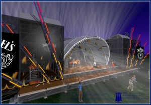 Dunbar's rendering of the BOOMTOWN stage, nighttime side view. Image courtesy of Ryan Dunbar.