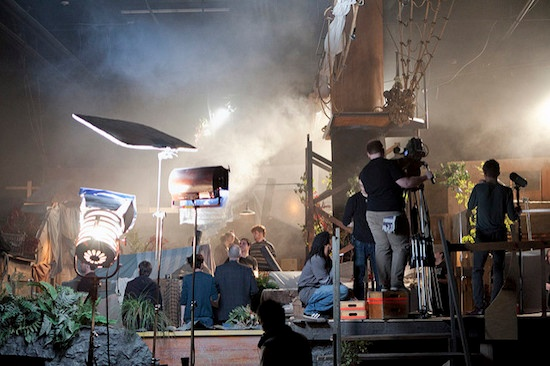 Crew members take their places on a film set. Photo by Vancouver Film School.